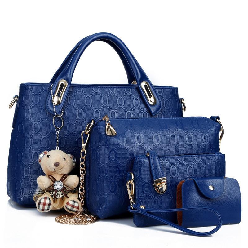 Женская сумка набор 4в1 из экокожи с брелочком синий