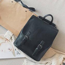 Женский рюкзак-сумка из качественной экокожи черный опт