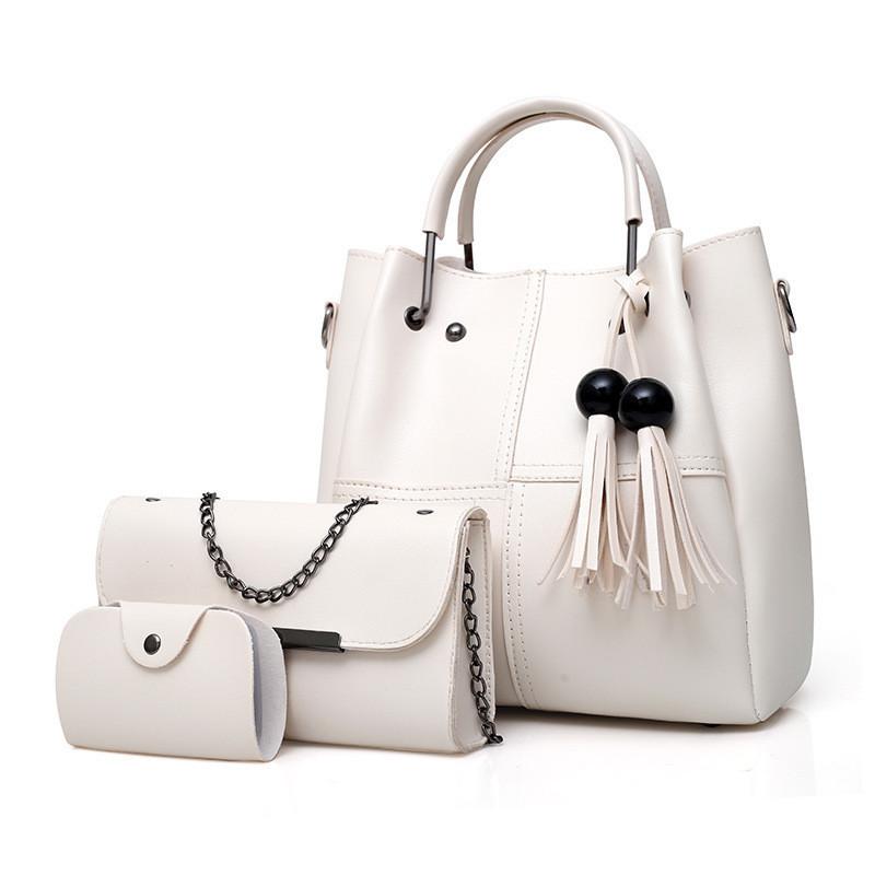 Набор женских сумок 3в1 с косточками белый из качественной экокожи