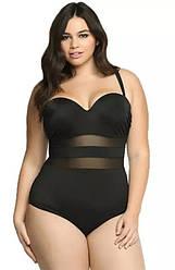 Женский купальник слитный черный больших размеров со вставками из сеточки