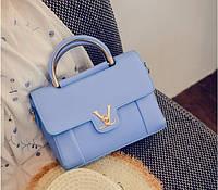 Женская сумочка маленькая голубая через плечо