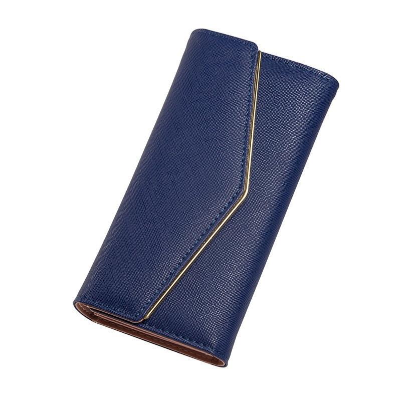 Женский кошелек тройного сложения из экокожи синий