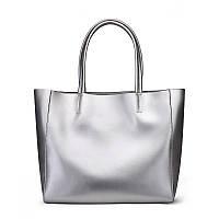 Женская кожаная сумка большая цвет серебро
