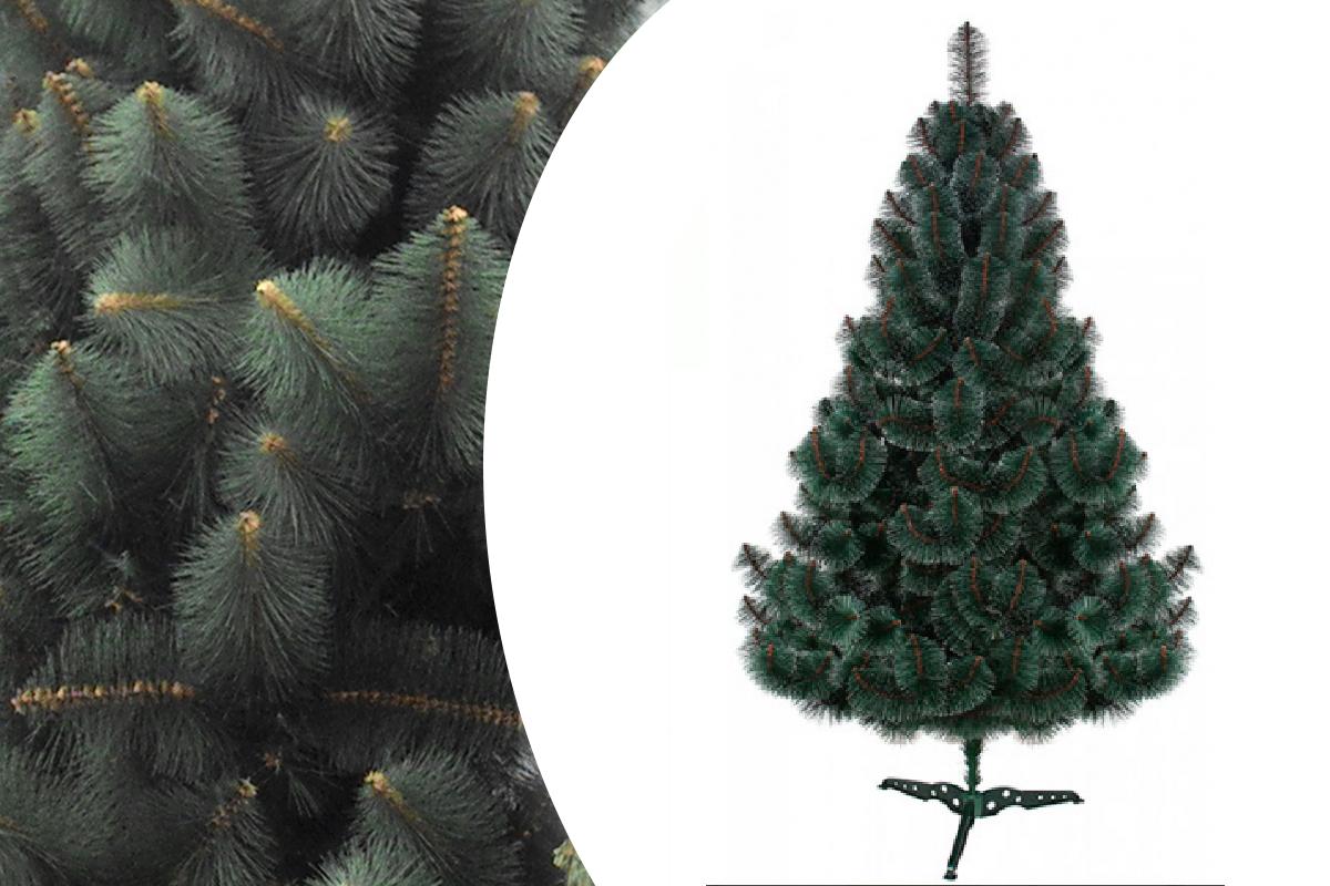 """Сосна """"Новогодняя"""" темно-зеленая пушистая высота 180см длина хвои 10см."""