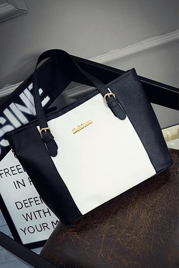 Женская сумка черная большая вместительная из полиэфира