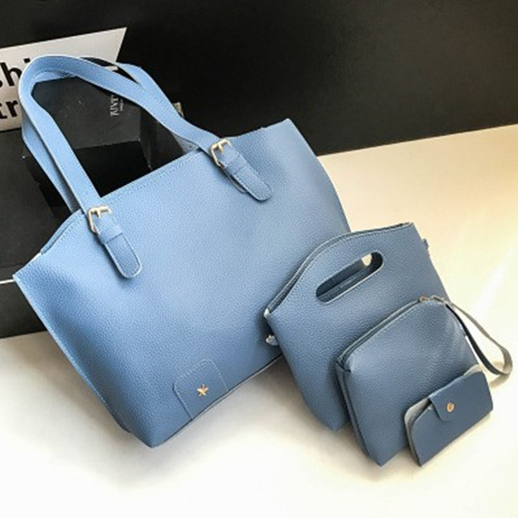 Женская сумка в наборе + мини сумочка  голубая 4в1 экокожа