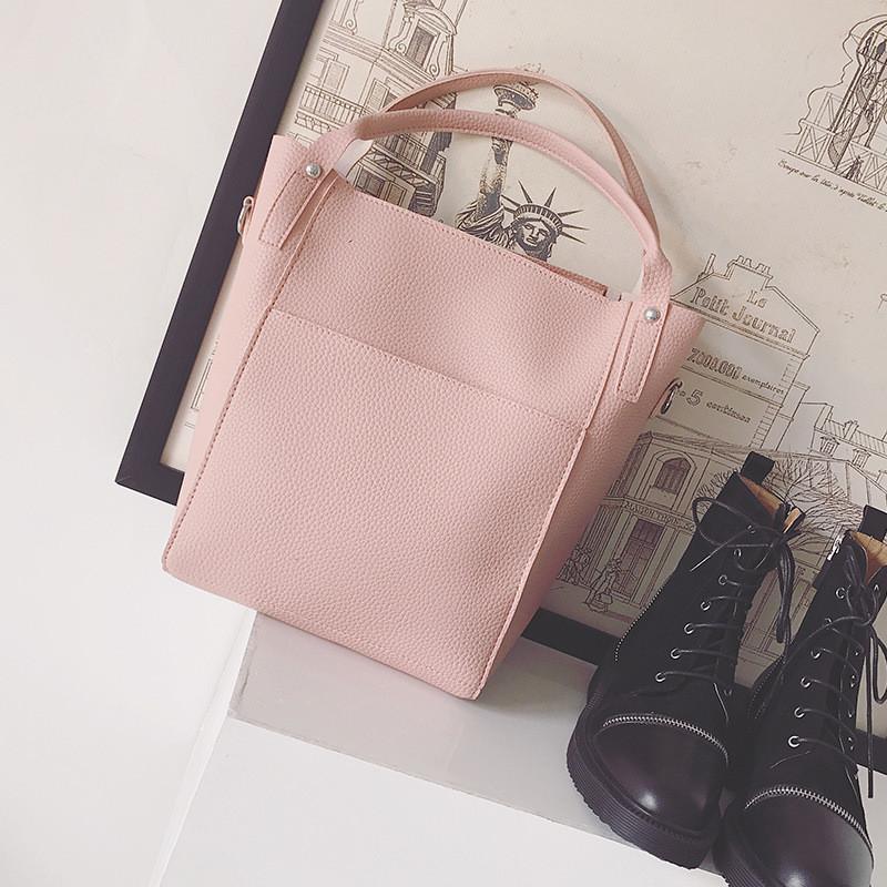 Женская сумка набор 4в1 + маленькая сумочка и косметичка розовый