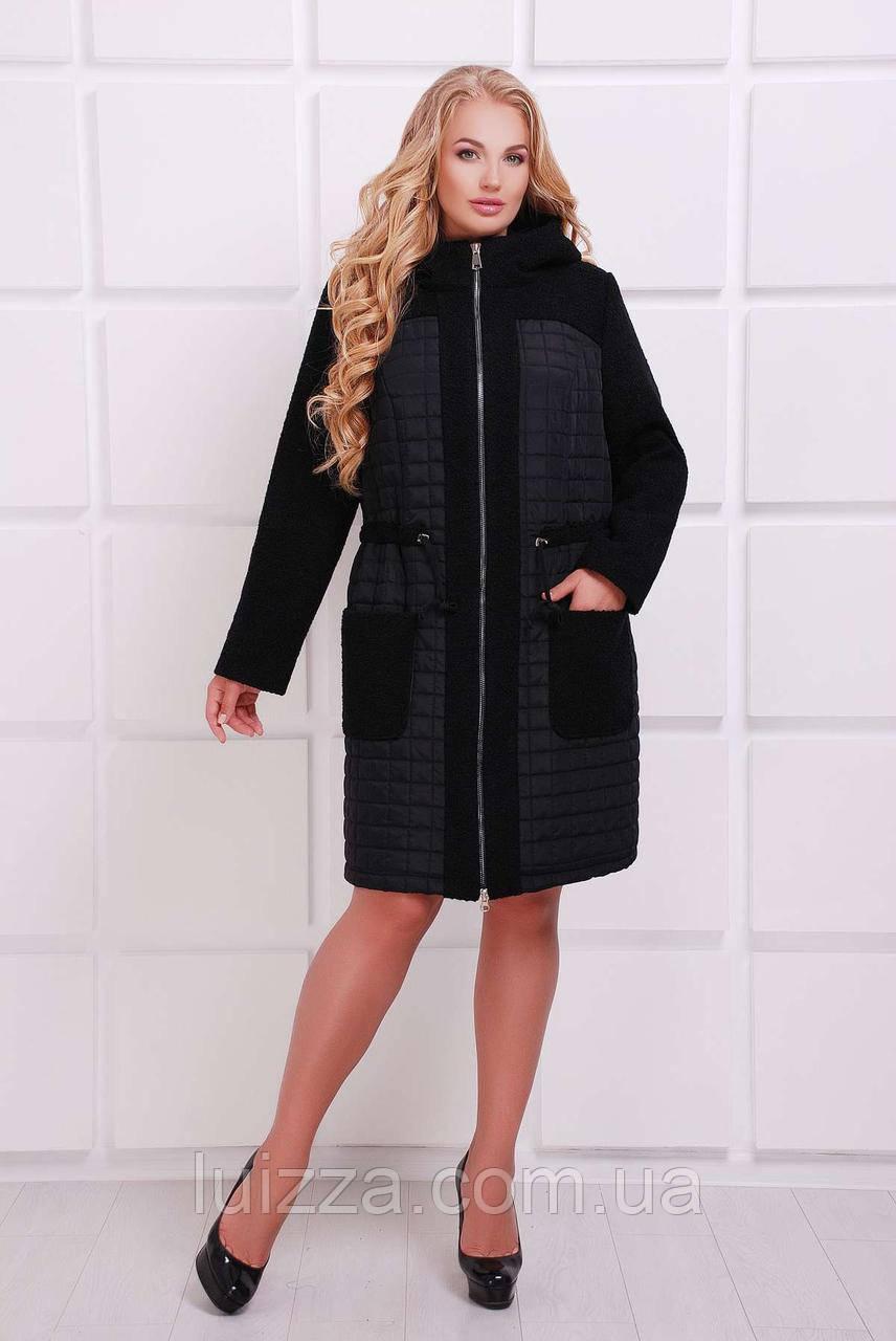 de932570b94 Женское Демисезонное - Утепленное Пальто 54 - 60р Черный — в ...