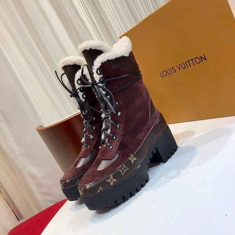 Зимние ботинки Louis Vuitton со шнуровкой на тракторной подошве ... a19a9fc2766