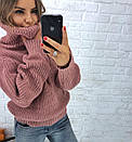 Теплый женский свитер свободный с горловиной 3sv458, фото 4