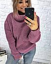 Теплый женский свитер свободный с горловиной 3sv458, фото 8