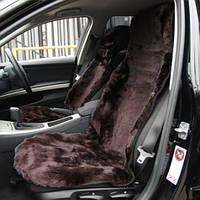 Авто чехол из натуральной цельной коже цигейки коричневый