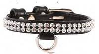 Collar Brilliance Ошейник 12мм 21-29см с укр. полотно стразы черный