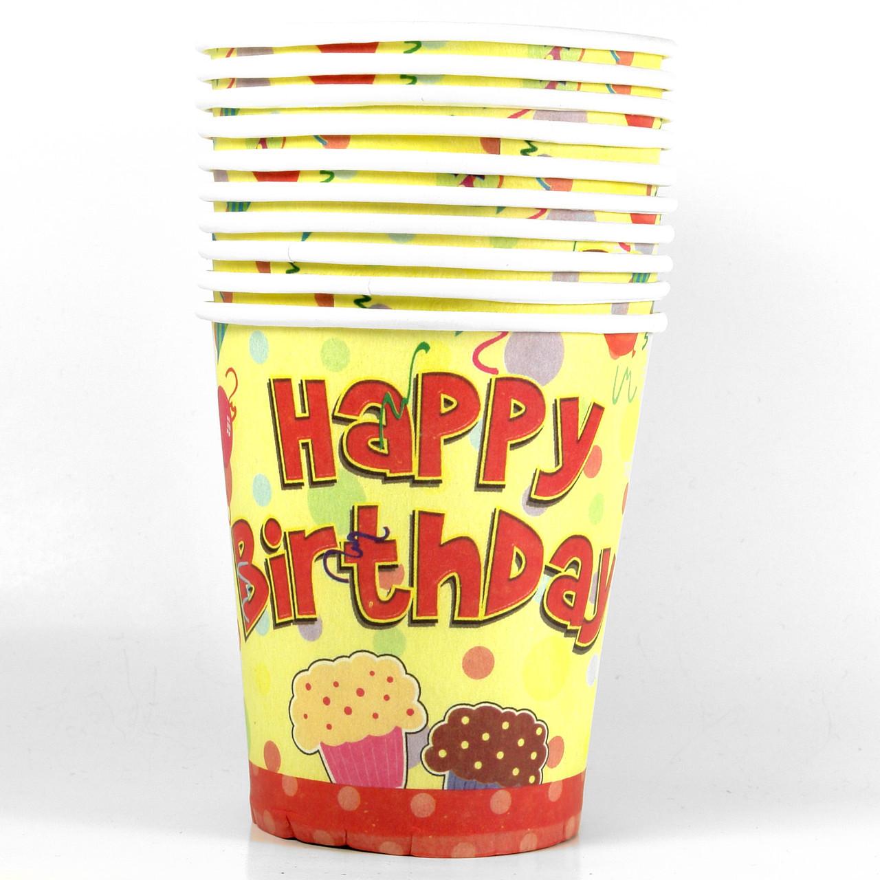 Стаканчики бумажные Happy Birthday 2 10шт.