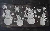 Декоративные пушистые наклейки на окно Снеговики, фото 1
