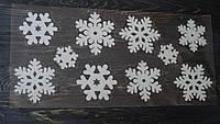 Декоративные пушистые наклейки на окно Снежинки