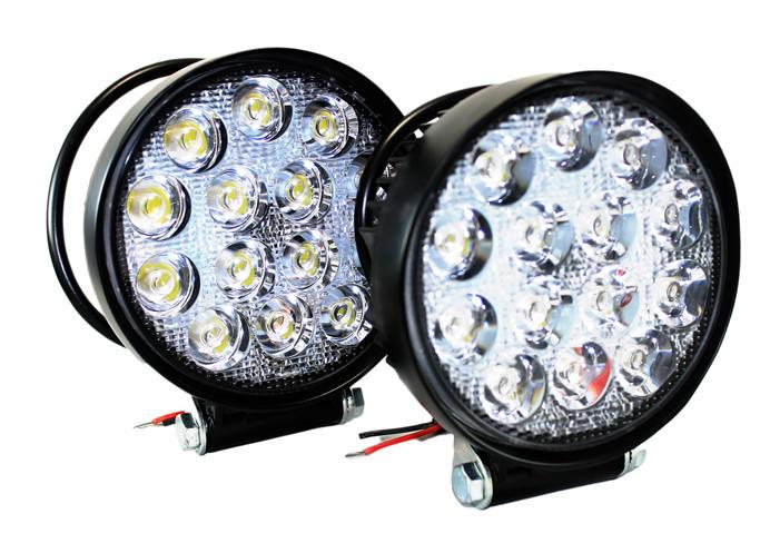 Фара LED дополнительная круглая 42W (широкий луч) 2шт., <Дорожная карта>