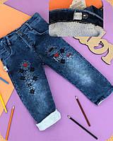 Утепленные джинсы на махре для девочки. 1,2,3 года