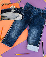 Утепленные джинсы на резинке на мальчика.80.