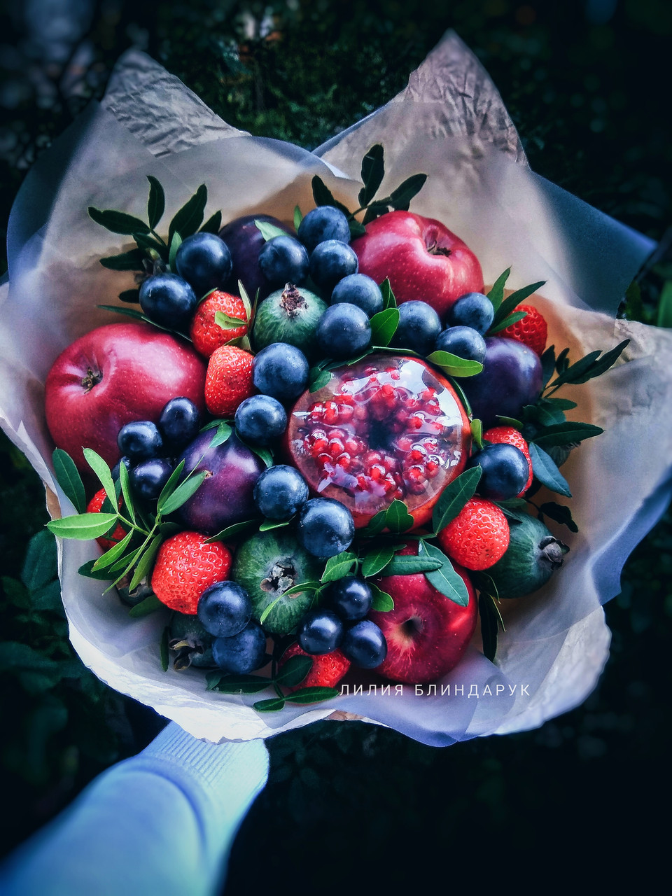 """Букет из фруктов и цветов """"Фруктовая феерия"""""""