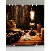 Принт ковбойской шляпы и лампы Занавеска для душа - Темно-коричневый