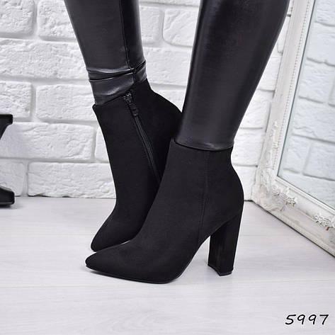 """Ботильоны женские на каблуке, черные """"Kazka"""" эко замша, повседневная, демисезонная женская обувь, фото 2"""