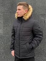 Мужская зимняя куртка Jacket winter Alaska (black), черный пуховик, фото 1
