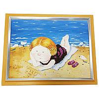 Картина без скла: на пляжі вишита бісером