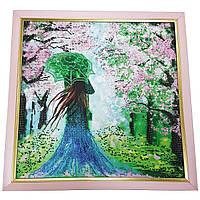 Картина без стекла: Леди весна вышитая бисером