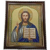 Картина с стеклом: Господь вседержитель, вышитая бисером