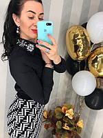 Женская чёрная коттоновая блузка со стразами, фото 1