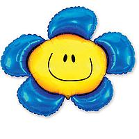 Фольга большая ромашка синяя 901548