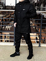 Мужская зимняя парка в стиле Nike (black), Реплика ААА