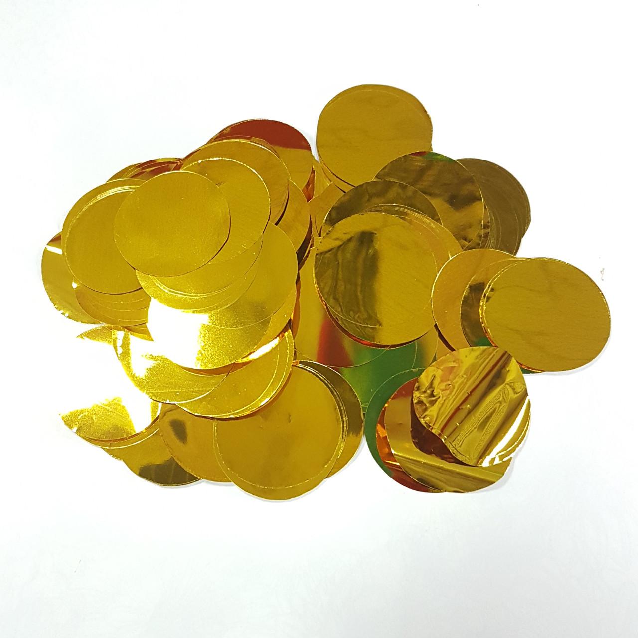 Конфетти кружочки 35мм золото 500г