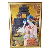 Картина без скла: Париж, вишита бісером