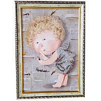 Картина без скла: Горобчик, вишита бісером