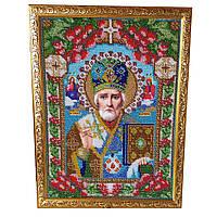Картина без скла: Микола Чудотворець, вишита бісером