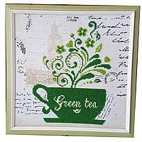 Картина без стекла: Зеленый чай, вышитая бисером