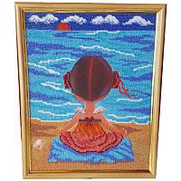 Картина без стекла: Йога, вышитая бисером