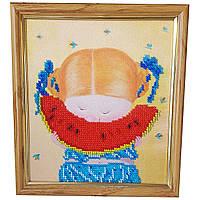 Картина без стекла: Арбузик, вышитая бисером