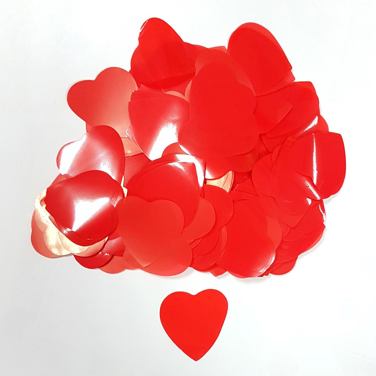 Конфетти сердечки красные 25г
