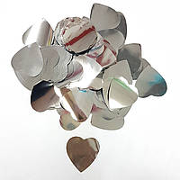 Конфетти сердечки серебро 25г