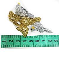 Новогодний декор птички золото 5шт