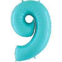 Фольга цифра 9 аквамарин