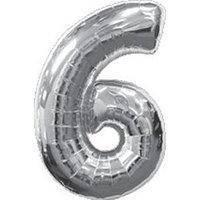 Фольга цифра №6 - 70см серебро