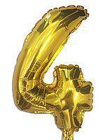 Фольга цифра №4 - 35см золото