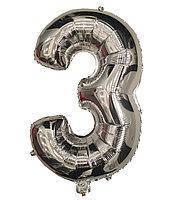 Фольга цифра №3 - 35см серебро