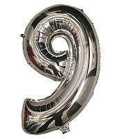 Фольга цифра №9 - 35см серебро