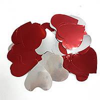 Конфетті серця червоні-срібло 1кг