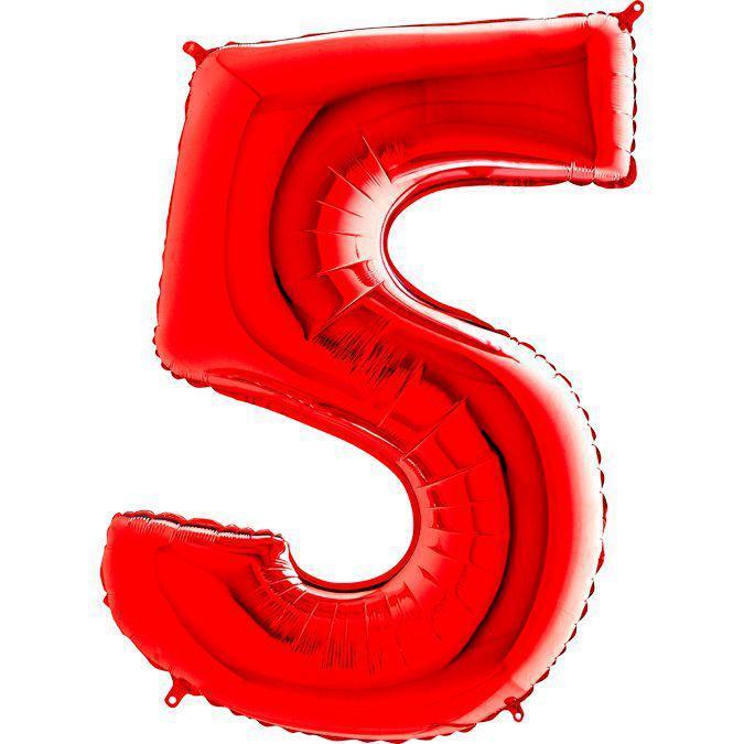 Фольга цифра 5 красная